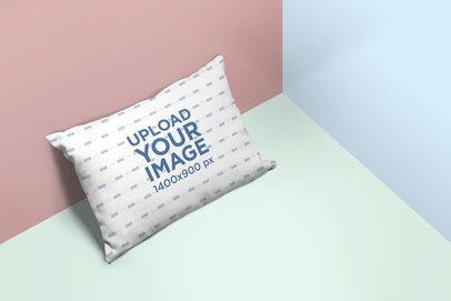 Throw Pillow Mockup Resting Against a Multicolored Surface 25156