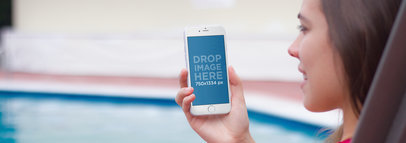 iPhone Mockup Featuring a Young Woman by The Pool a4814