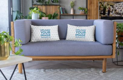 Mockup of Throw Pillows Placed over a Modern Sofa 25915