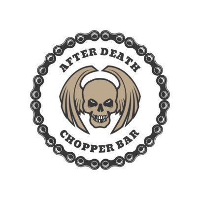 Biker Bar Logo Design Template with Creepy Skull Clipart 1763
