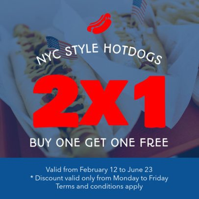 Coupon Design Generator for a BOGO Coupon in Hotdogs 1008c