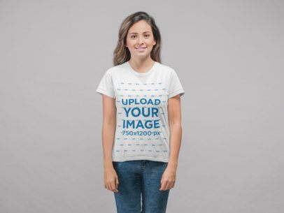 T-Shirt Mockup of a Smiling Girl at a Studio 22333