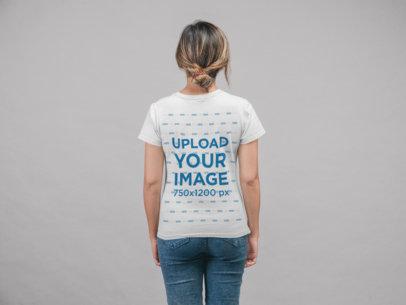 T-Shirt Mockup of a Girl Facing Backwards at a Studio 22334