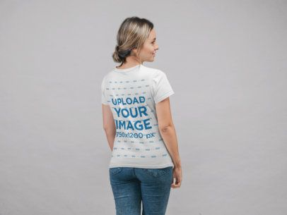 Tee Mockup of a Girl Facing Back While She Looks over Her Shoulder 22335