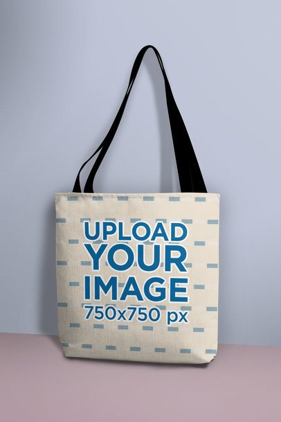 Mockup of a Tote Bag Standing Against a Wall 25164