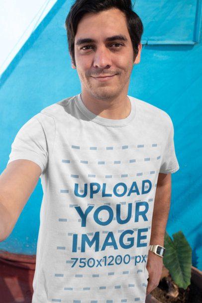 T-Shirt Mockup of a Happy Customer's Selfie 26229