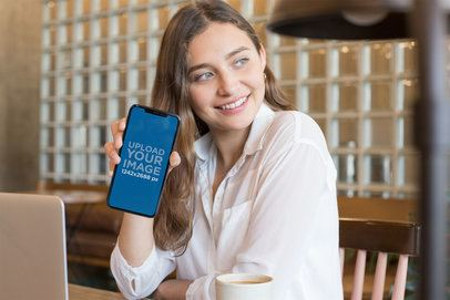 iPhone XS Max Mockup Featuring a Smiling Girl  25358