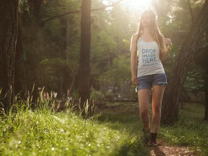 Tank Top Mockup Template of a Girl Hiking in the Woods 6821a