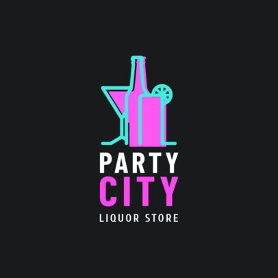 Liquor Store Logo Design Maker with Neon Style Booze Clipart 1814a