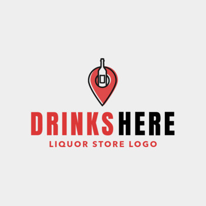Liquor Store Logo Maker with a Navigation Map Indicative Pin Clipart 1814c