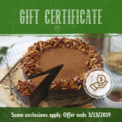 Gift Certificate Coupon Template for Restaurants 1033d
