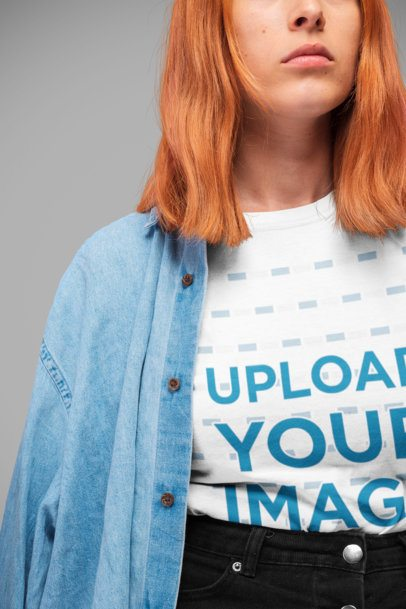 T-Shirt Mockup of a Serious Red Haired Girl with a Denim Shirt 20846
