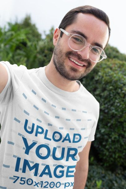 Selfie Mockup of a Happy Customer Wearing a Round Neck Tee 26207