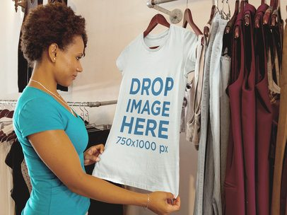 T-Shirt Mockup Featuring a Young Woman Shopping 6570a