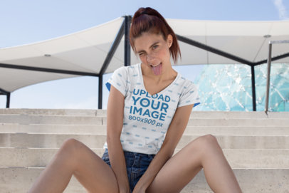 Sublimated V-Neck T-Shirt Mockup of a Girl Making a Crazy Face 24978