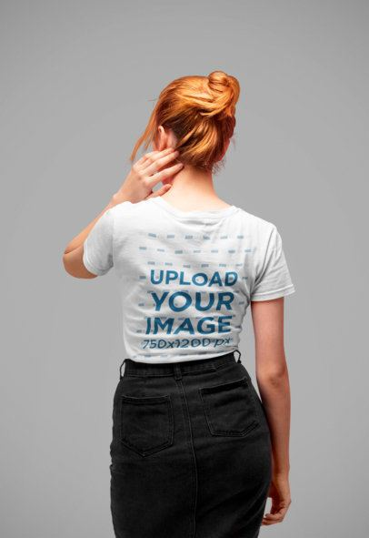 Tee Mockup Featuring a Red-Haired Woman's Back in a Studio 20879