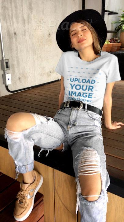 Video of a Stylish Woman Wearing a T-Shirt 23166