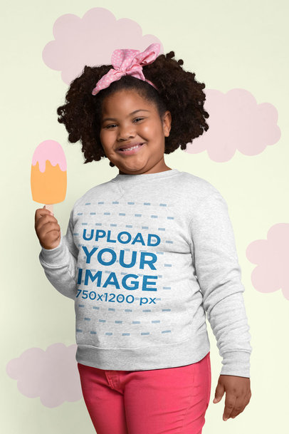 Plus Size Sweatshirt Mockup of a Smiling Girl Holding a Cartoon Ice Cream 25576