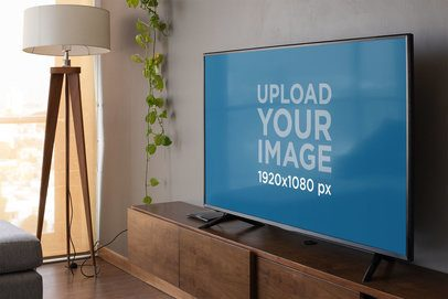 Smart TV Mockup Featuring a Classy Living Room 25884