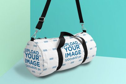 Mockup of a Duffle Bag Against a Colored Background 25168