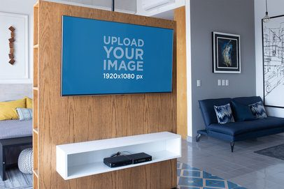 TV Mockup Featuring a Home's Living Room 25819