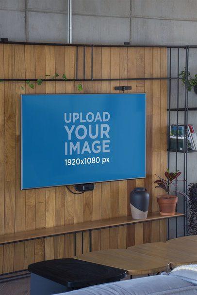 Mockup of a Flatscreen Smart TV Mounted in a Living Room 25815
