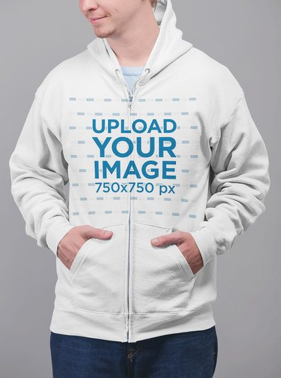 Full-Zip Hoodie Mockup of a Blonde Man with Hands in His Pockets 23099