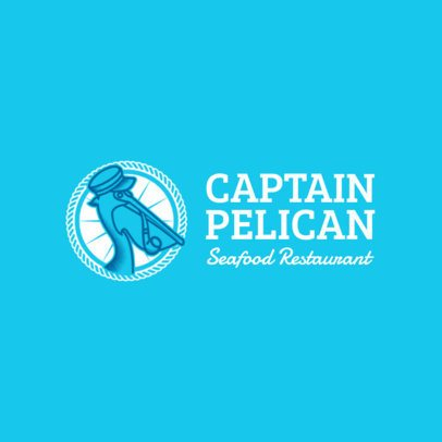 Seafood Restaurant Logo Generator with a Pelican Clipart 1801a