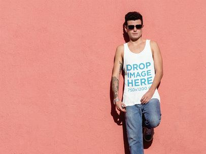 Tank Top Mockup of Tattooed Man With Sunglasses 6589a