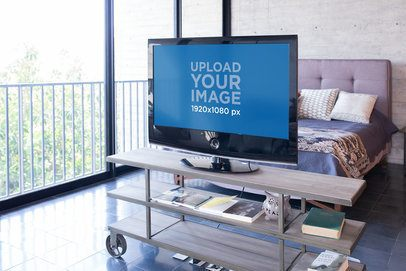 Smart Tv Mockup Featuring a Minimalist Bedroom with a Balcony 25841