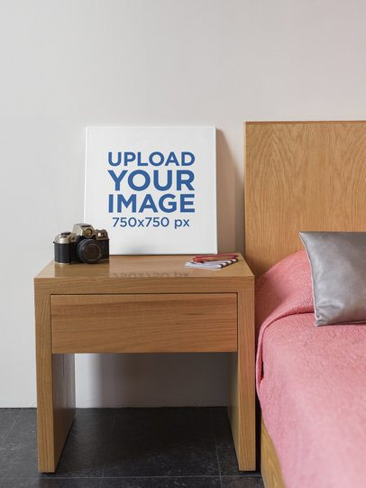 Square Canvas Print Mockup in a Bedroom 25872