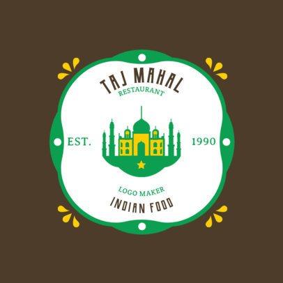 Indian Food Logo Maker with a Taj Mahal Clipart 1827b