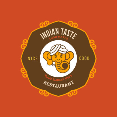 Indian Restaurant Logo Design Template with Sacred Elephant Art 1827c