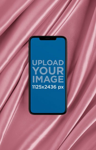 Mockup of an iPhone XS over Shiny Silk 25962