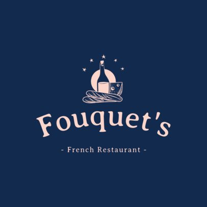 French Food Logo Generator with a Wine Clipart 1807d