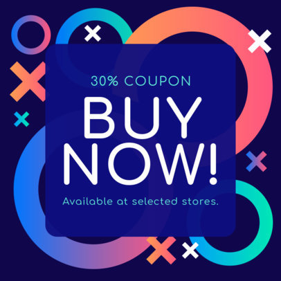 Coupon Design Template with Vibrant Colored Figures 1031c