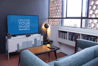 Smart Tv Mockup featuring a Small Living Room 25878