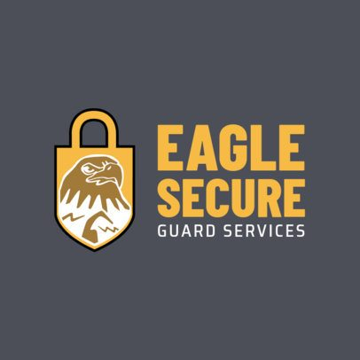 Security Logo Creator with an Eagle and a Lock Art 1788c