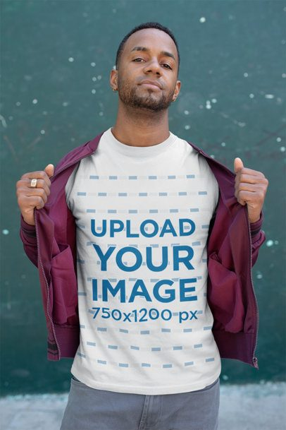 Mockup of a Man Revealing His Tee from Under a Light Jacket 25928