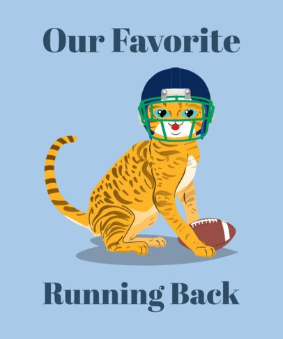 Cute Football T-Shirt Design Maker with Cat Clipart 1163a