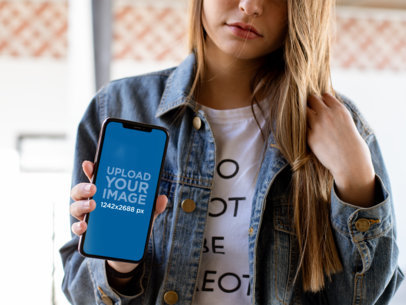iPhone XS Max Mockup of a Blonde Girl with a Denim Jacket 25816