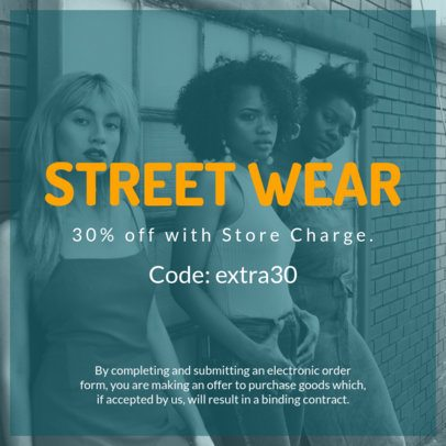 Street Wear Design Template for a Code Coupon Design 1025b