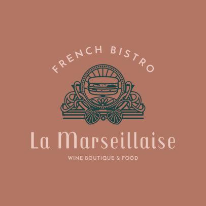 Stylized French Food Restaurant Logo Maker 1809c
