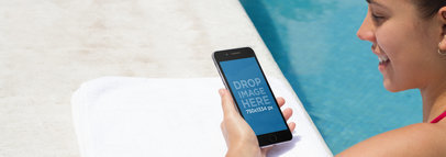 iPhone Mockup Featuring a Pretty Girl by the Pool a4816