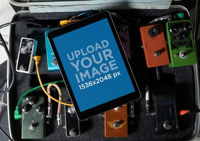 iPad Mockup Lying over a Pedalboard Case 25761