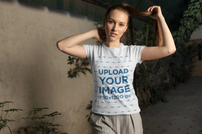 Round Neck Tee Mockup of a Beautiful Woman with a Ponytail Looking at the Camera 26272