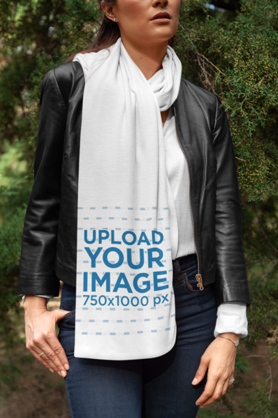 Scarf Mockup Featuring a Woman with a Leather Jacket Posing by Some Bushes 25677