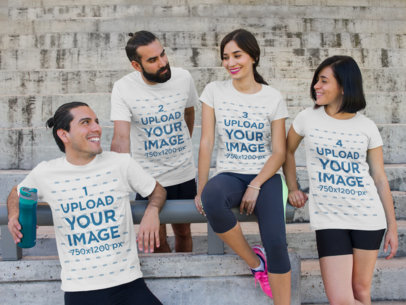 T-Shirt Mockup of a Group of Friends Relaxing Outdoors a7865