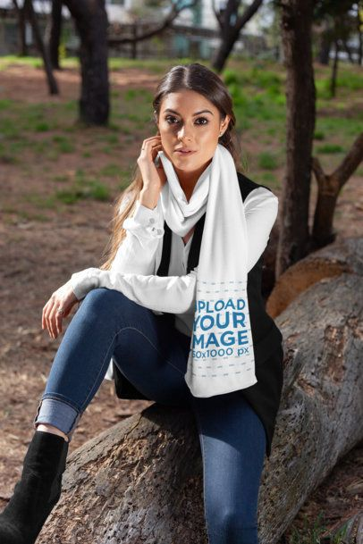 Scarf Mockup of a Woman Sitting over a Fallen Tree Trunk at the Park 25681