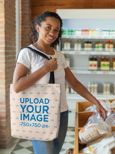 Tote Bag Mockup of a Smiling Woman Shopping at a Grocery Store 26697